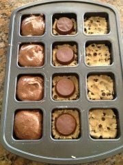 My Pampered Kitchen Adventures: Triple Layer Brownies: Yes, they are as amazing as they sound - Preheat oven to 350; smoosh 1.5 squares of break-apart refrigerated cookie dough into the bottom of each well. Place Reese cup upside down on top of cookie dough (or an Oreo!). Top with prepared box brownie mix, filling 3/4 full. Bake for 18 minutes! HEAVEN.