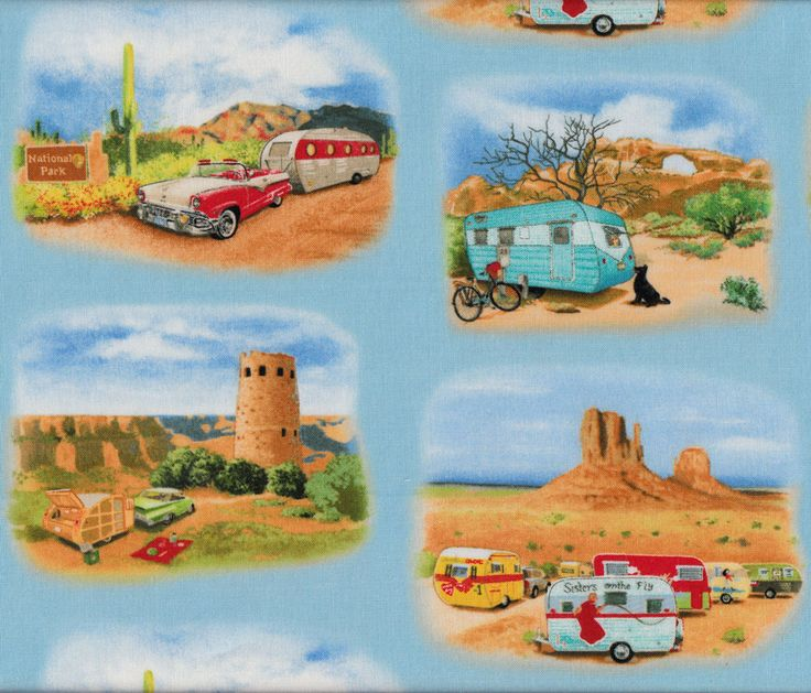 Retro Caravans on Blue Outdoors Quilt Fabric - Find a Fabric. Available to purchase in Fat Quarters, Half Metre, 3/4 Metre, 1 Metre and so on.