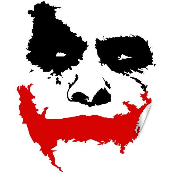 Joker Face Wall Sticker Batman Clown The Evil Smile Vinyl Etsy Joker Face Joker Art Joker Images
