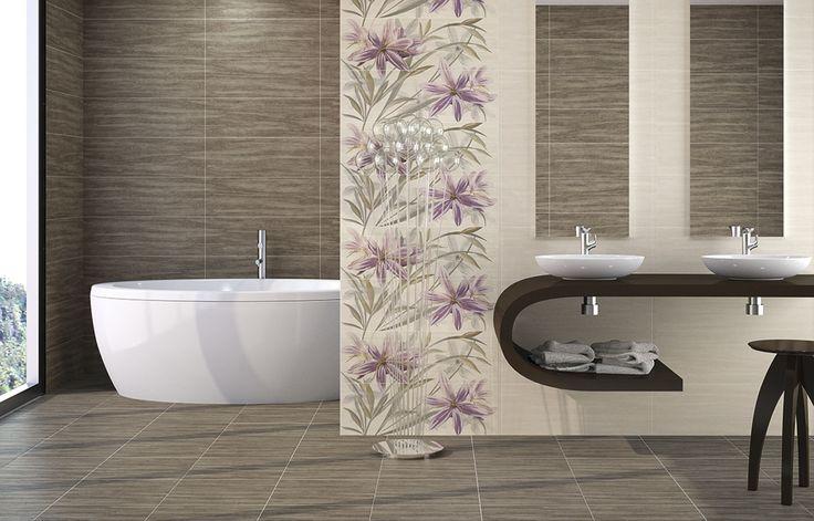 Pavimento elegante de dimensiones 44,7 x 44,7 con diferentes tonos y revestimiento floral.