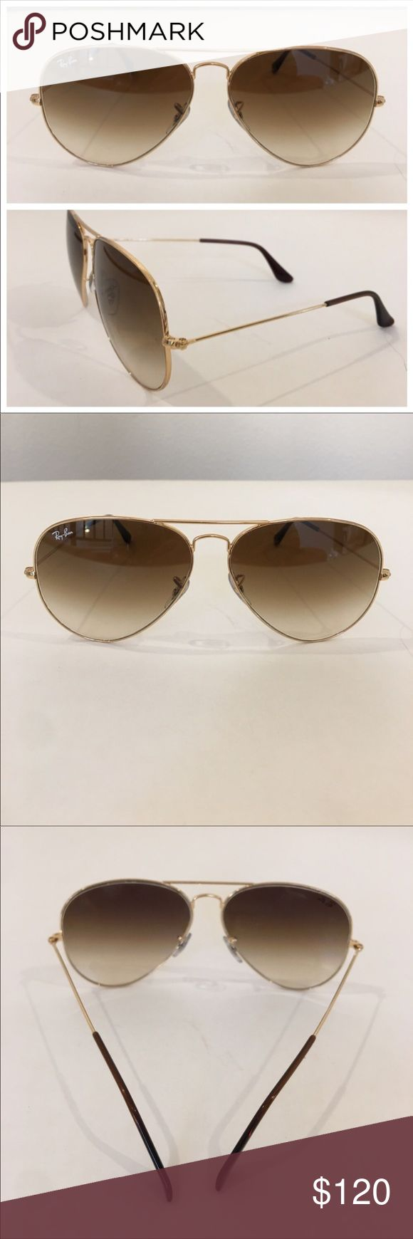 Authentic RAY BAN large frame aviator sunglasses Authentic RAY BAN metal gold tone large aviator sunglasses, made in Italy, model RB 3025.  In gently worn preowned condition woth gentle scratches on the lens and frame. One eye pad is a slightly askew and