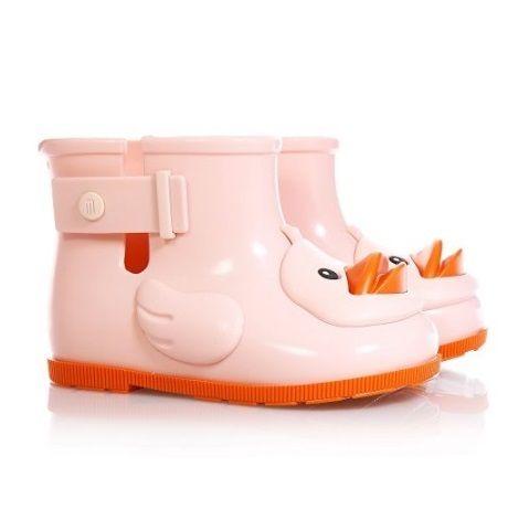 Botas de agua infantiles de color rosa con forma de pato de Melissa Mini