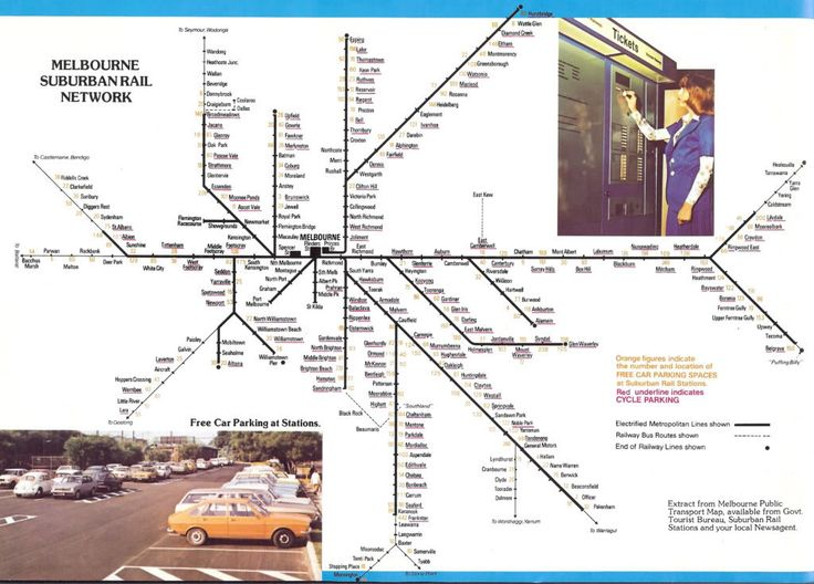 VicRail Suburban rail network circa 1979 with Healesville, Mornington and Cranbourne non-electrified services.