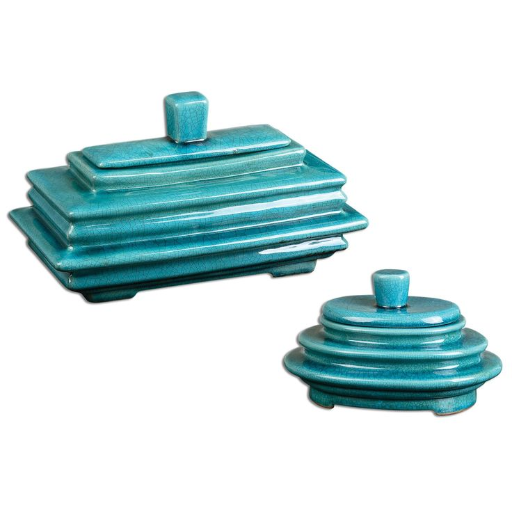 """Ceramic Boxes Featuring A """"layered Look"""" Finished In Crackled, Bright Blue. I Available at Rug & Home I #blue #transitional #storage"""