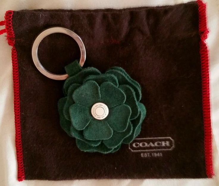 NWOT COACH Green Suede FLOWER Leather Keyring w/Bag - RARE! #Coach