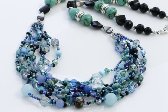 Multi-Strand Necklace Boho Inspired Blue tone by KalitheoCreations