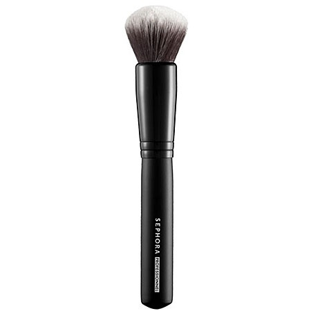 #PROtip: Foundation, blush, or bronzer...this densely-packed brush builds coverage in a snap and its rounded design allows you to work product into the skin. SEPHORA COLLECTION Classic Mineral Powder Brush #45 #Sephora