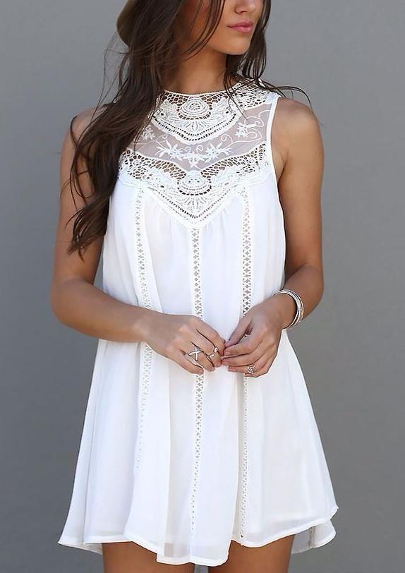 Sleeveless Crochet Hollow Shift Short Loose Dress $21.99