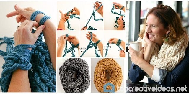 DIY Arm Knitting Scarf (Video) - http://topcreativeideas.net/diy-arm-knitting-scarf-video.html