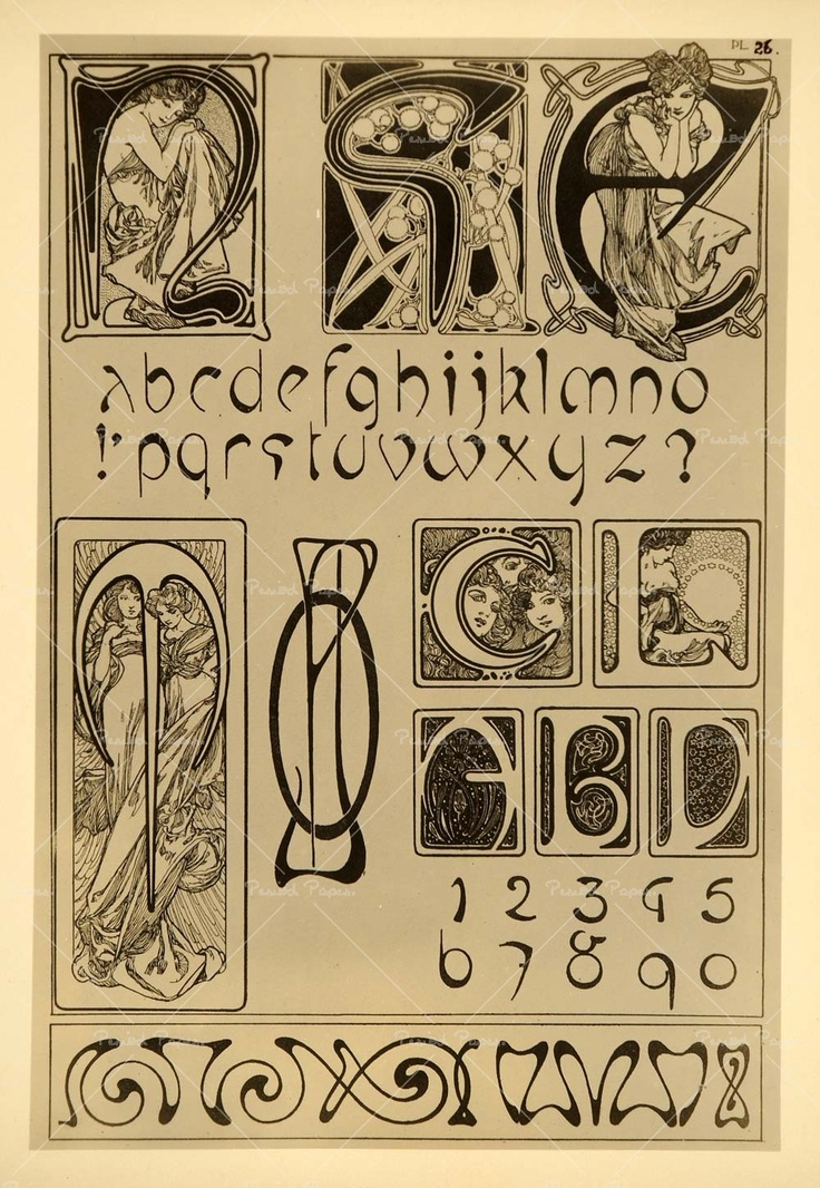Design For An Art Nouveau Alphabet From Documents Decoratifs Par AMucha By Alphonse Mucha And Published Librairie Centrale Des Beaux Arts