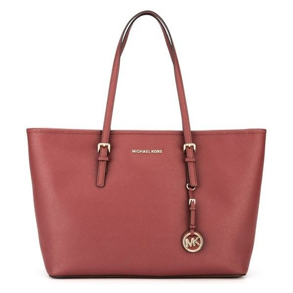 Michael Michael Kors Jet Set Travel Medium Shopping Bag (11,385 INR) ❤ liked on Polyvore featuring bags, handbags, tote bags, travel tote bags, travel purse, shopper tote bag, red tote and genuine leather tote