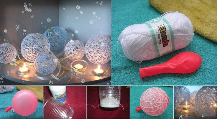 Zelfgemaakte kerstballen mbv een ballon (vaseline op ballon, draadje door behangplak halen)