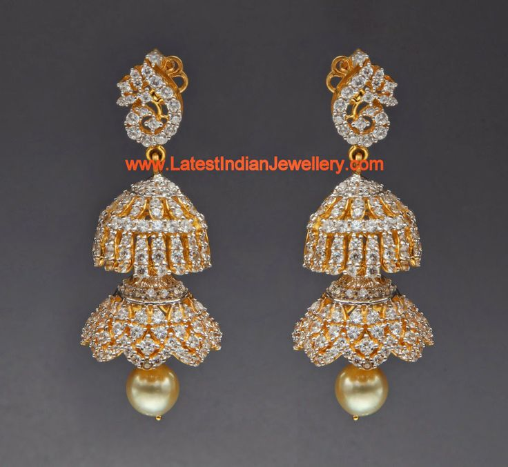 diamond models designs jhumkas jewellery jhumka long diamondpeacock
