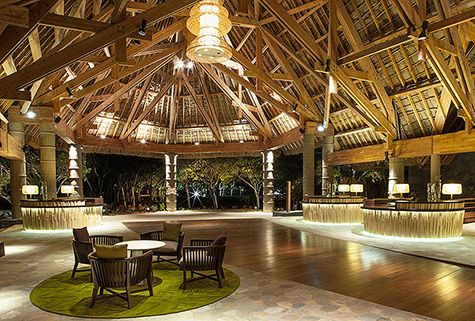 Night time ambience created with fabulous lighting from Point of View on traditional timber architecture for the Sheraton Guoaro Deva, New Caledonia - Another project designed by CHADA. More pictures on our website http://www.chada.com.au