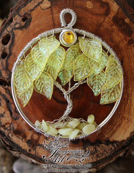Tree of Life Glitter Leaves Tree Yellow by GelArt on Etsy