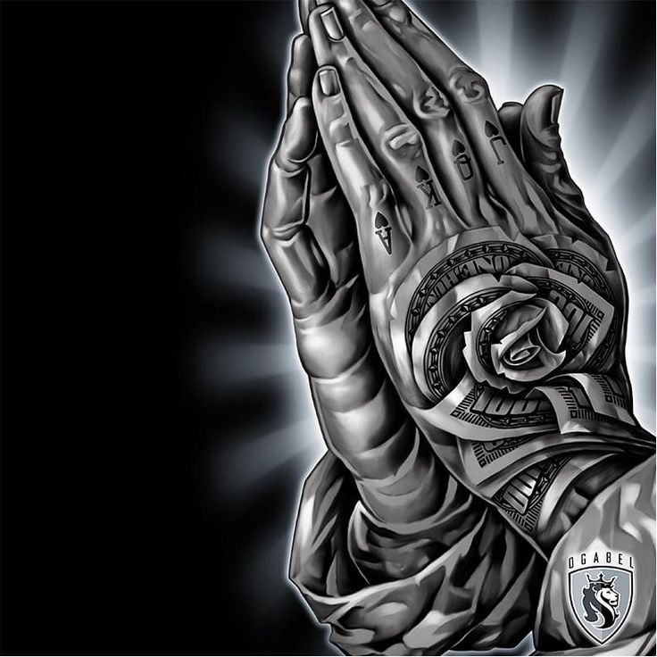 Praying hands by OG Abel OGAbel art chicano blackandgrey prayinghands