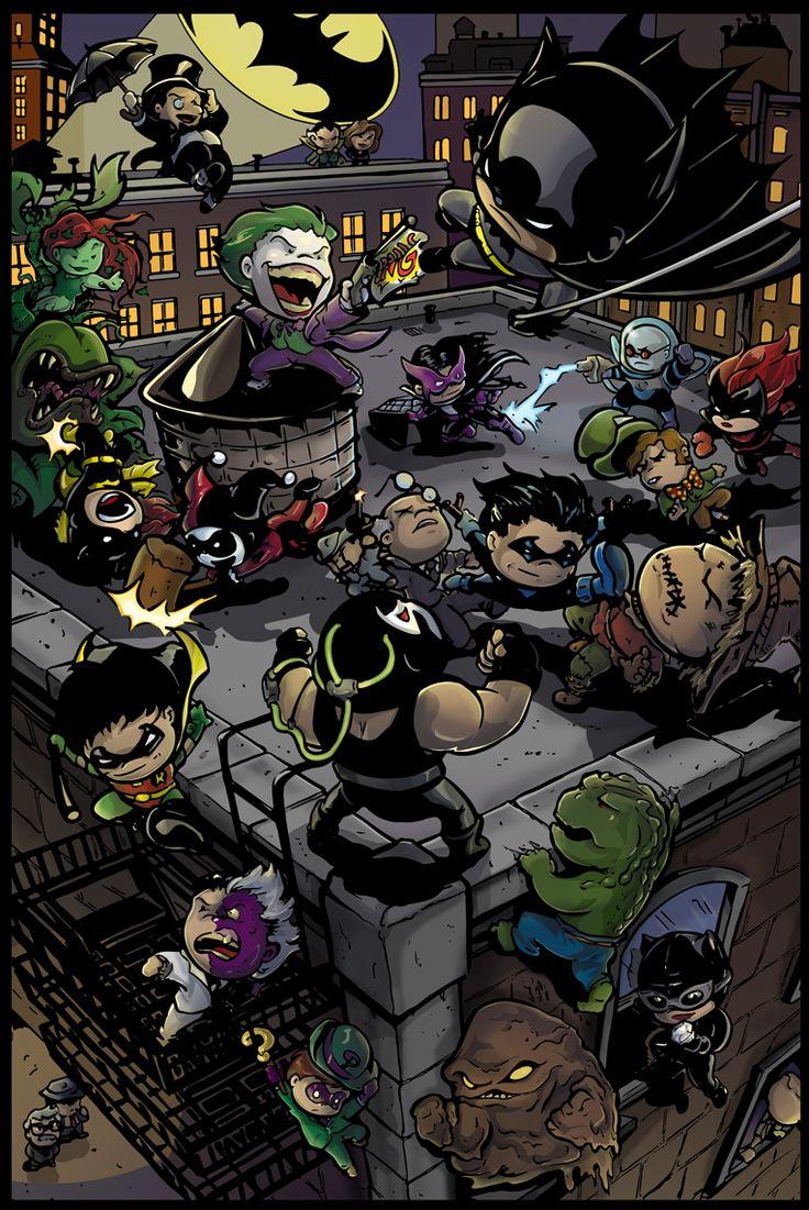 Li'l Gotham by Truxillogical.deviantart.com - Featuring (deep breath): Penguin, Rā's al Ghūl, Talia al Ghūl, Poison Ivy, Batgirl, Joker, Batman, Harley Quinn, Huntress, Mr Freeze, Batwoman, Mad Hatter, Ventriloquist & Scarface, Nightwing, Scarecrow, Bane, Robin, Two-Face, Killer Croc, Riddler, Clayface, Catwoman, The Question, Jim Gordon and Harvey Bullock.