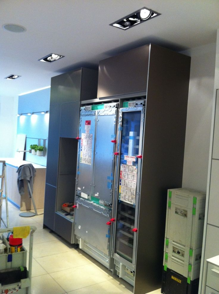 New Gaggenau Vario fridge freezer and tall wine cooler ready for their doors, exciting!