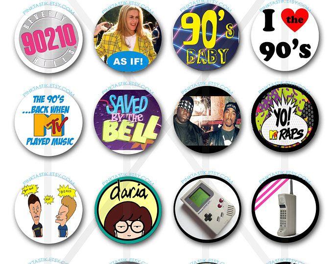 20 totalmente impresionante 90s Cupcake Toppers, los 90 torta de fiesta temática, amo los años 90, del partido de los años 90, 90s fiesta decoraciones, años 90 cumpleaños, años 90 pastel