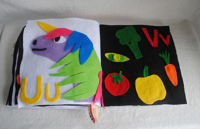 U is for Unicorn, V is for Vegetables by absolutely small Diy abc book
