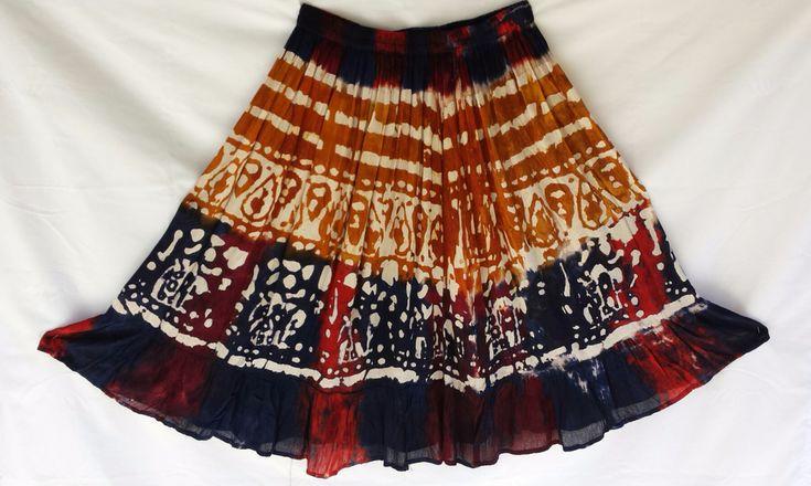 Hippie Bohemian Gypsy Indian Ethnic Tie Dye Batik Handmade Skirt #SacredThreads #HalfSkirtKneeHigh