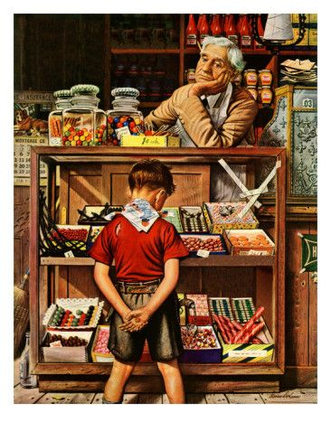 """Penny Candy,"" September 23, 1944    by Stevan Dohanos...penny candy store just like this about a block from my grandmas house. Loved deciding what I could get with my dime."