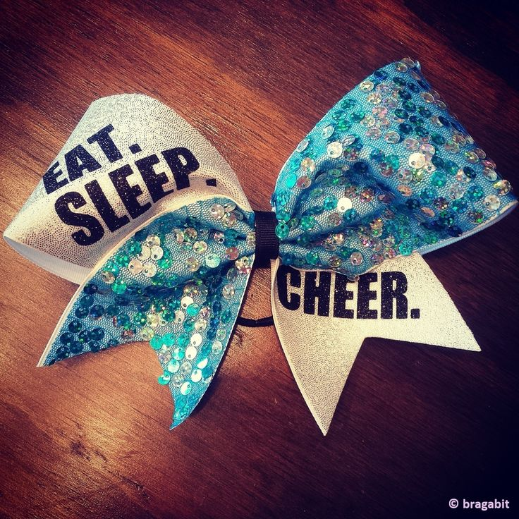 EAT.SLEEP.CHEER. turquoise sequin cheer bow