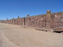 Walls around the Kalasasaya Temple. Tiwanaku (Spanish: Tiahuanaco ) a Pre-Columbian archaeological site in western Bolivia was the capital of an empire that extended into present-day Peru and Chile, flourishing from AD 300 to 1000.