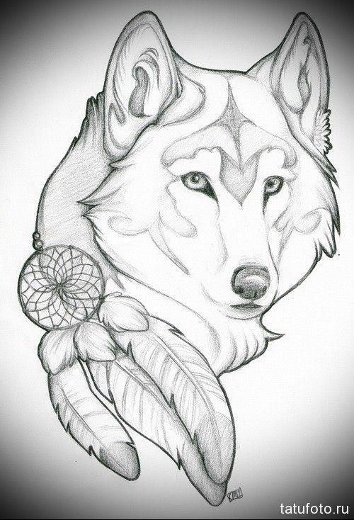 эскиз-татуировки-с-белым-волком-и-ловцом-снов-с-перьями.jpg (500×734)