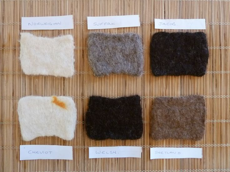 I often refer back to my hand-felted wool swatches to remind myself how a particular wool feels, or how it shrinks / stretches.  I hand write details of the wool or mix onto an iron-on backing on the reverse of each one.  See more by fibre-art by LittleDeb on Facebook, Folksy and Etsy.