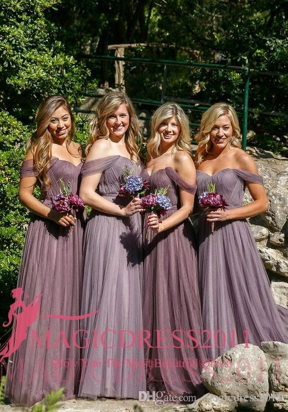 Vintage Grape Tulle Bridesmaid Dresses for 2017 Country Wedding Junior Maid of Honor A-Line Off-Shoulder Beach Formal Prom Party Gowns New Bridesmaid Dresses Cheap Bridesmaid Dresses Long Maid of Honor Dress Online with 88.0/Piece on Magicdress2011's Store | DHgate.com