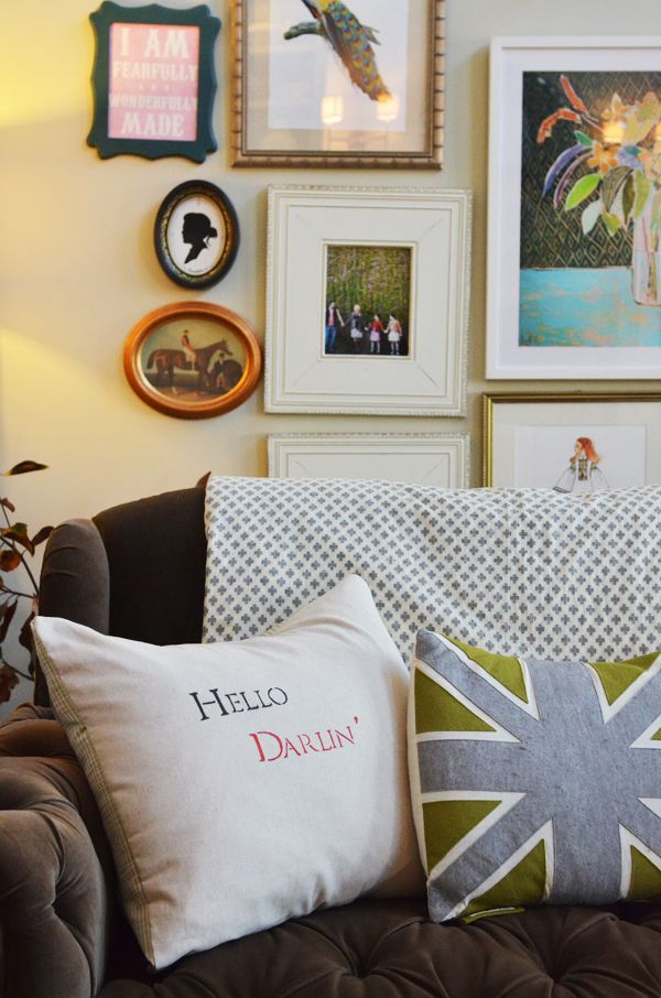 Life In Grace - Hello Darlin' stenciled pillow!