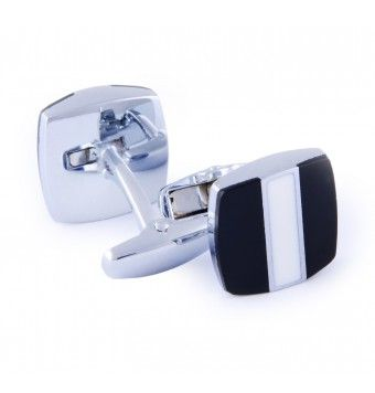 Sterling Silver Square Shape Black & White Cufflinks