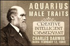 Charles Darwin as a famous Aquarian male