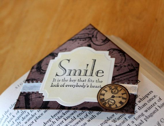 Smile Handmade Bookmark Corner Key Clock by MrsKristenCreations, $5.50