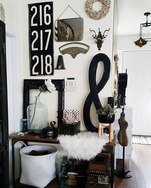 Black And White Gallery Wall Eclectic Vintage Industrial Decor Our Side