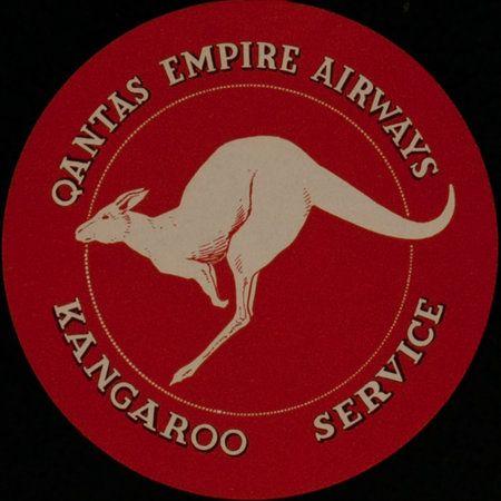 DP Vintage Posters Qantas Empire Airways Original Luggage Label Kangaroo Service