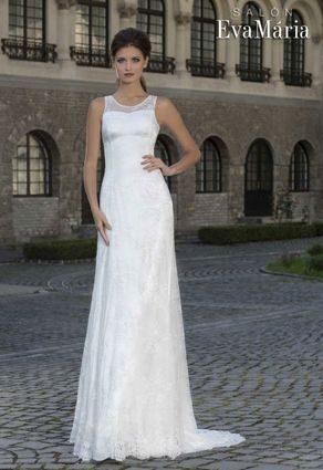 Úzke čipkové svadobné šaty s oválnym výstrihom