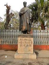The statue of Professor Alfred Woolner (1910's), still stands outside the University of Punjab on the Mall, Lahore. (Seen in 2016)  Alfred Cooper Woolner (May 1878 - 7 January 1936) was a noted Sanskrit scholar and professor as well as the Vice Chancellor of the University of the Punjab in Lahore.