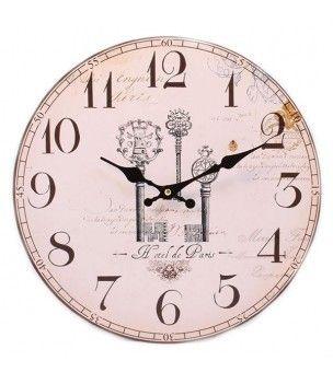 Zegar na ścianę z motywem kluczy - styl retro