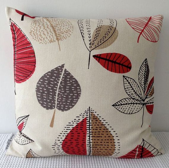 Retro autumn leaves in red, brown and grey over natural background cushion cover, slip cover, decorative cushion