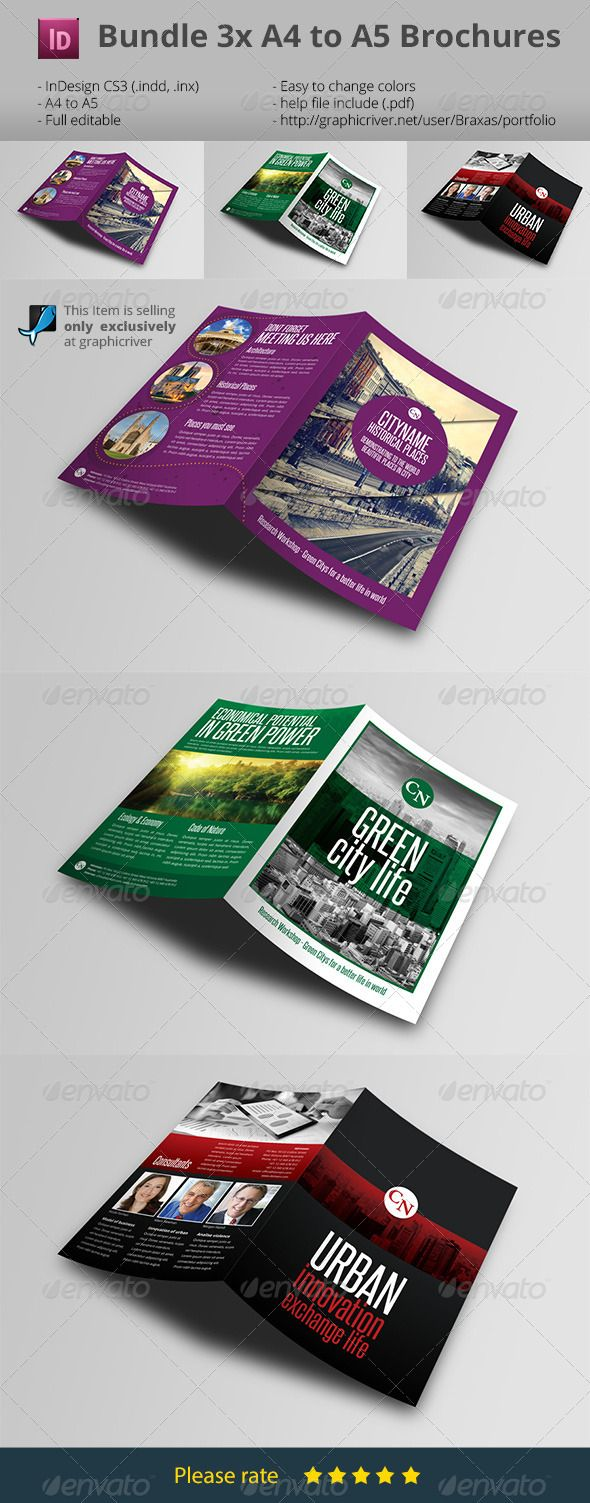 Bumdle 3x Indesign Brochure A4 to A5