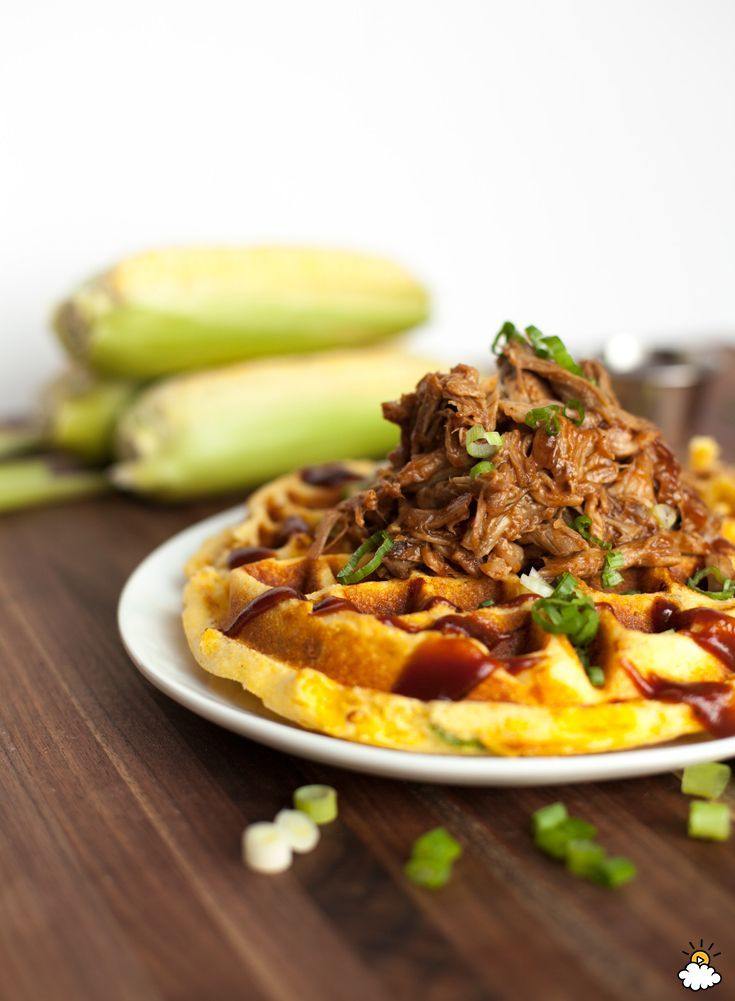 Pulled Pork and Cornbread Waffles -- turn a breakfast classic into a savory sensation.
