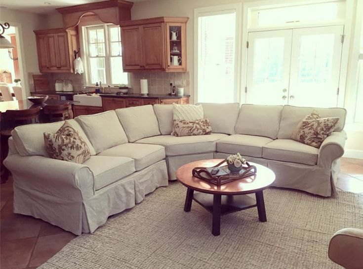 Just delivered this sectional slipcover this week.  My Client has a beautiful home…farm house.  We've already made slipcovers for two sofas and 3 chairs + this sectional.  I love the fa…