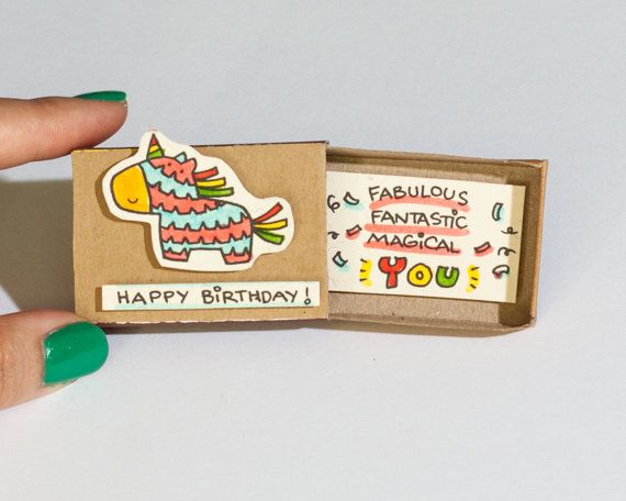 This listing is for one matchbox. This is a great alternative to a Birthday card. Surprise your loved ones with a cute private message hidden in these