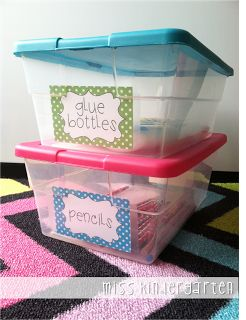 Miss Kindergarten: Getting Organized! Supply Labels