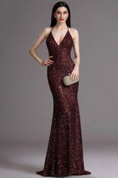 Plesové šaty s flitry hnědé špagetová ramínka za krk hluboký výstřih na zádech vestavěná podprsenka délka 155 cm