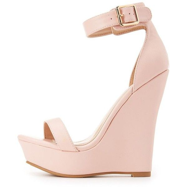 Charlotte Russe Two-Piece Wedge Sandals ($27) ❤ liked on Polyvore featuring shoes, sandals, pink, padded sandals, toe strap sandals, platform wedge sandals, pink sandals and wedge sandals