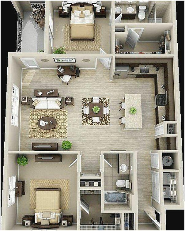 Ide Denah Rumah Sederhana 2 Kamar Tidur Terbaru 3D