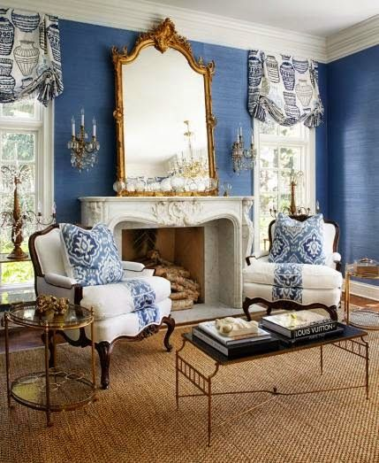 "New Home in Navy and Indigo - Traditional Home magazine April 2014 - sisal rug ""Madagascar""/Tupelo from www.meridameridian.com"
